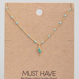 18K Gold Dipped Turquoise Lightening Bolt Necklace